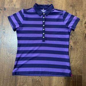 Nike Dri-Fit Golf Striped Purple Polo Shirt